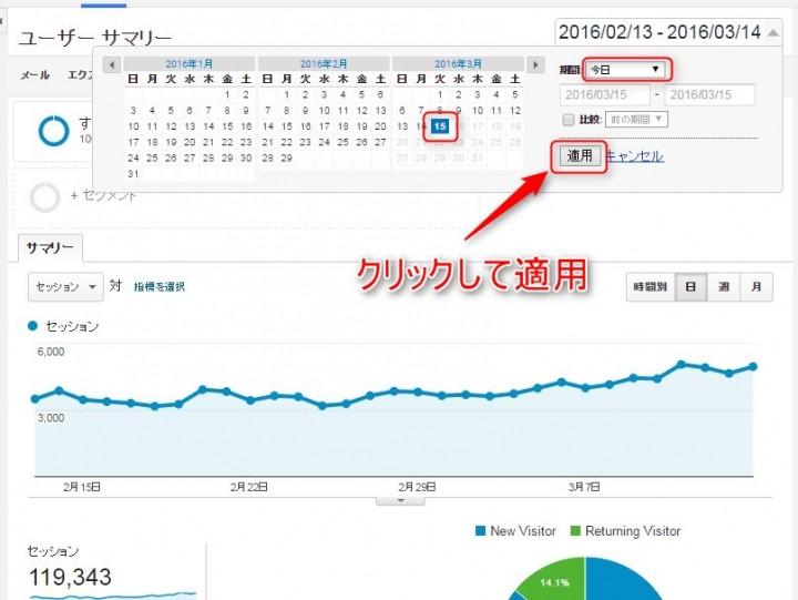 Googleアナリティクスで今日のデータを表示